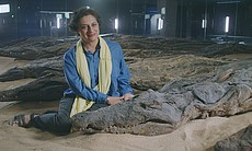 Professor Salima Ikram with a crocodile at the ...