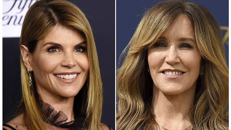 A composite photo shows Lori Loughlin (left) and Felicity Huffman — two actre...