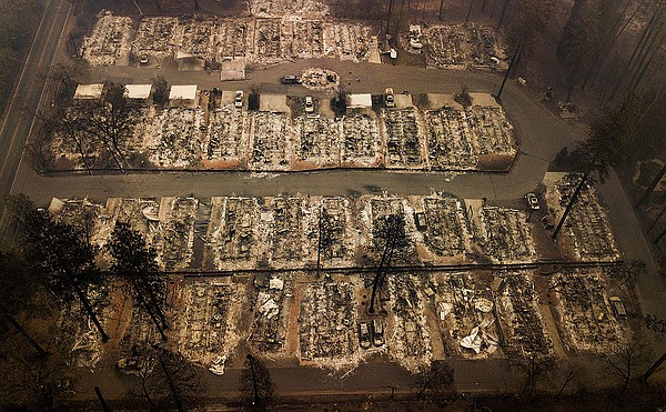 Residences were leveled by the wildfire in Paradise, Cali...