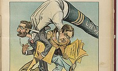 """Illustration showing a large hand labeled """"LAW""""..."""