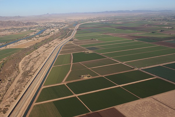 Water from the Colorado River irrigates farm fields in th...