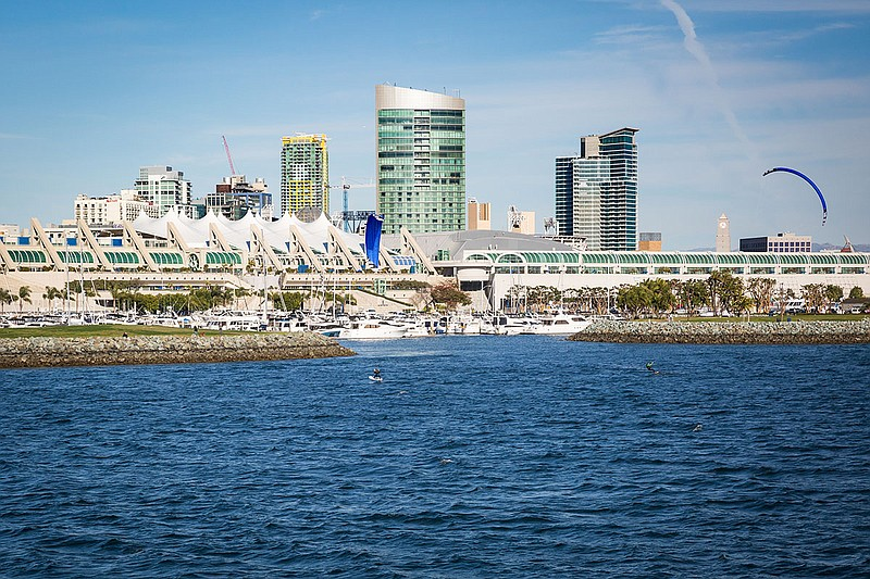 The San Diego Convention Center is seen in the background in this photo taken...