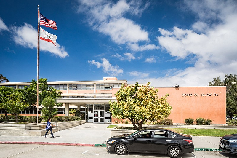 The San Diego Unified School District Board of Education building is shown in...