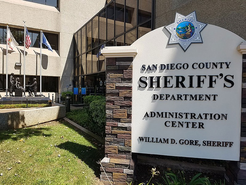 The sign in front of the San Diego County Sheriff's Department Administration...