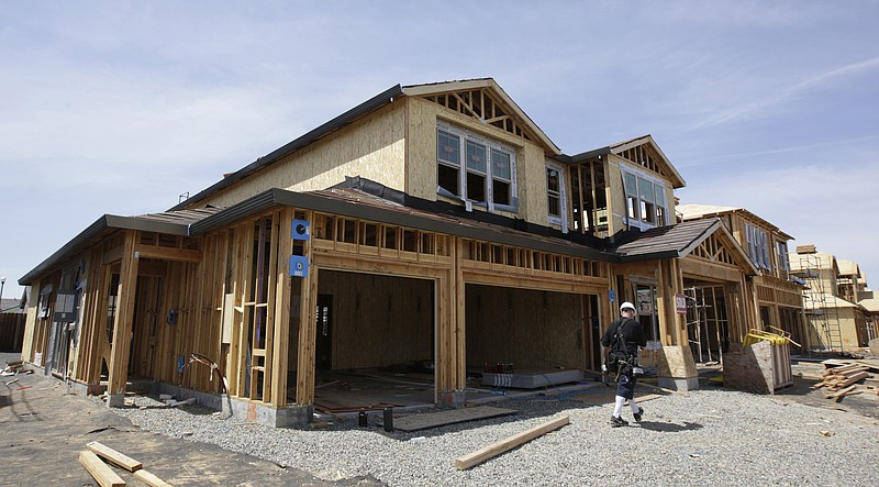 This May 4, 2018 file photo shows a house under construction in Roseville, Ca...