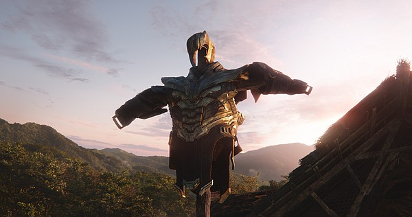 Thanos' armor in the field in
