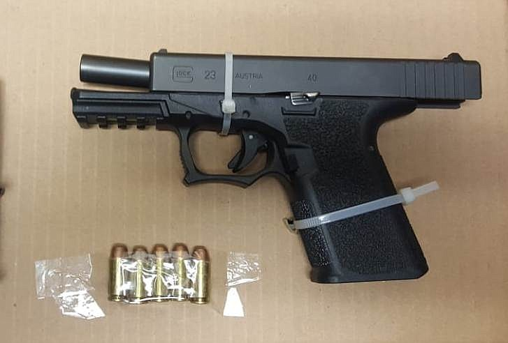 A Glock 23 handgun seized by Mexican authorities is pictured in this undated ...
