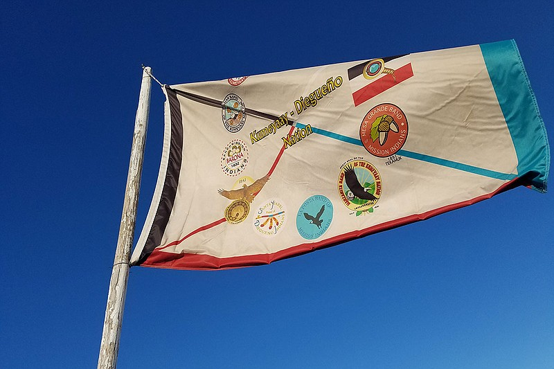 The Kumeyaay-Diegueno Nation flag is shown flying in a camp of Dakota Access ...