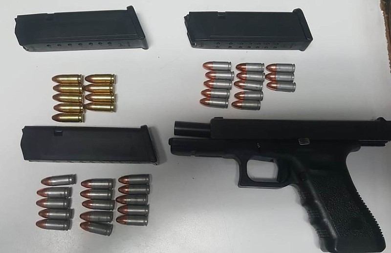 A 9mm handgun seized by Mexican authorities is pictured April 26, 2019.