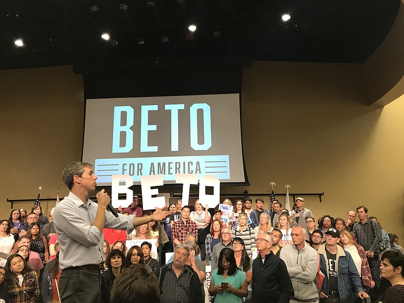 Beto O'Rourke speaks to the crowd at a town hall event at the Jacobs Center f...
