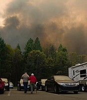 Camp Fire evacuees in a parking lot. Northern Calif. (undated photo)
