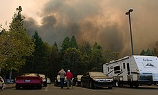 Camp Fire evacuees in a parking lot. Northern C...