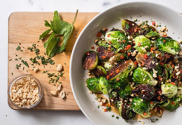 Skillet roasted Brussels sprouts with chile, peanuts and ...