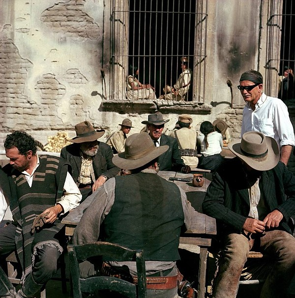 Director Sam Peckinpah (far right) on the set of