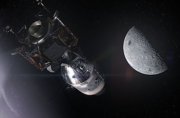 Apollo 11 approaching its destination for the first Moon ...