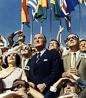 Former President Lyndon B. Johnson (left center) and Vice President Spiro Agnew (right center) view the liftoff of Apollo 11.  July 16, 1969.