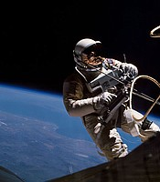 Ed White, the first American to walk in space, on Gemini 4 mission. June 1965.