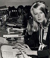 Poppy Northcutt became the first woman in an operational support role to work in NASA's Mission Control Center in Houston with the flight of Apollo 8. Photo taken in 1968.