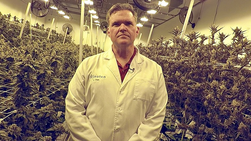 OutCo Labs CEO Lincoln Fish stands inside a room where his company grows cann...