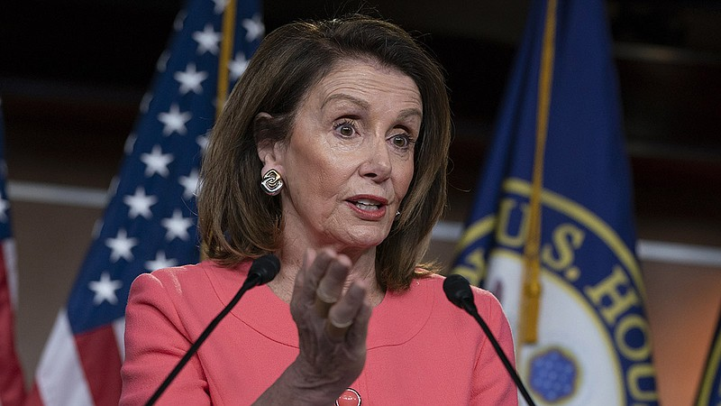 Speaker of the House Nancy Pelosi talks to the media at a news conference on ...