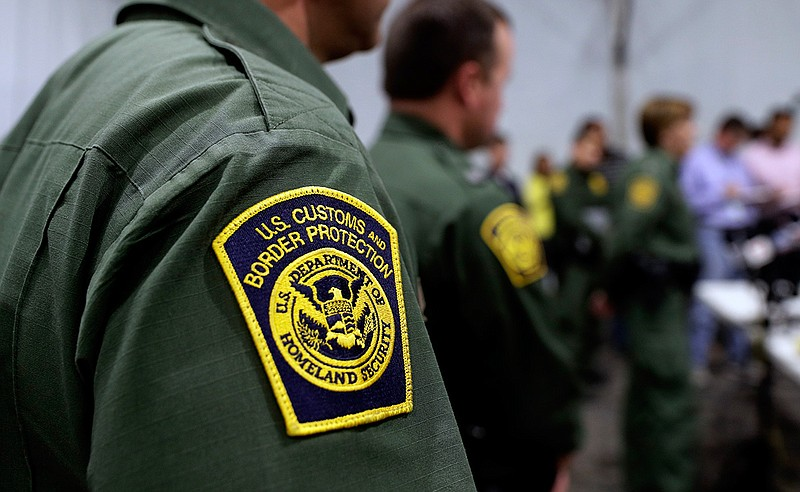 Border Patrol agents hold a news conference prior to a media tour of a new U....