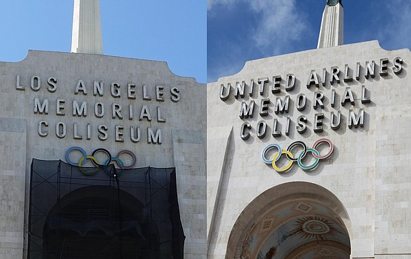 The current entrance of the Los Angeles Memorial Coliseum...