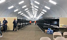 An inside view of the homeless tent shelter at ...