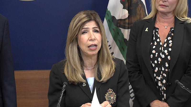 San Diego County District Attorney Summer Stephan speaks during a news confer...