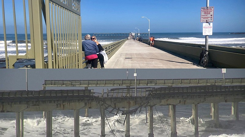 Ocean Beach Pier gates open (top), May 24, 2019 and damage from winter storm ...