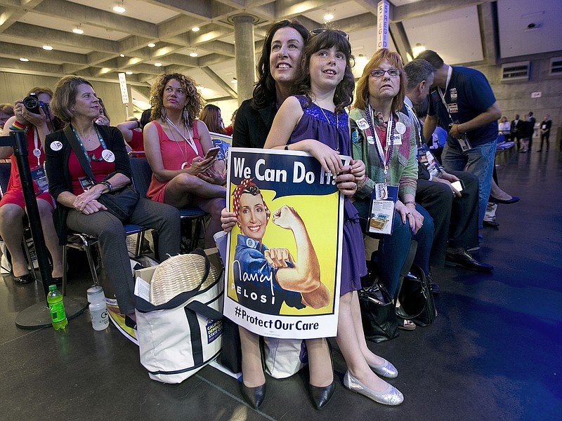 In this May 20, 2017 file photo, Christine Pelosi, holds her daughter Bella P...