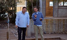Host Jorge Meraz plays the Boules game with Jav...