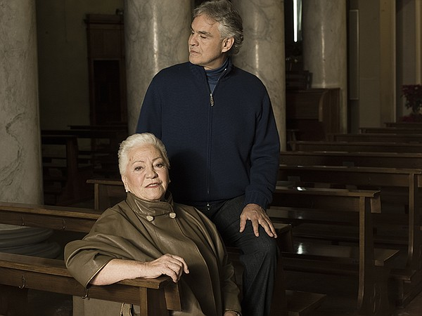 Andrea Bocelli with his mother.