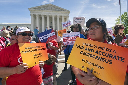 Immigration activists rally outside the Supreme Court as the justices hear ar...