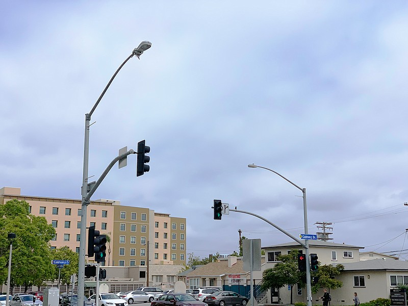 A smart streetlight located near the entrance of the San Diego State Universi...