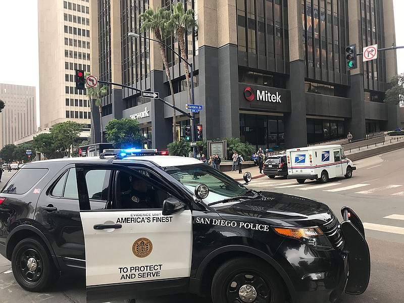 A San Diego police car parked in downtown San Diego, Oct. 24, 2018.