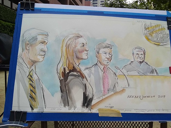 A courtroom sketch of Margaret Hunter, wife of Rep. Dunca...