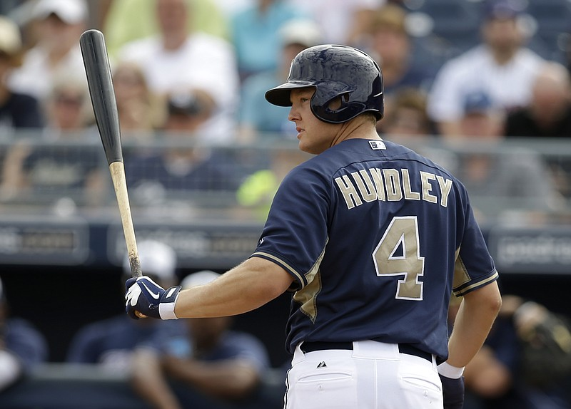 San Diego Padres' Nick Hundley looks back toward the mound at Seattle Mariner...