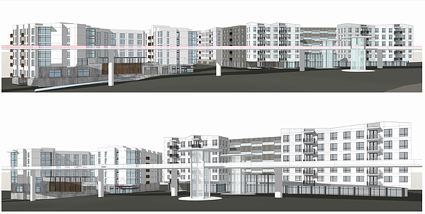 A conceptual rendering shows plans for 410 apartments at ...