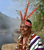 "Juan Flores is an Ashankinka shamen or ""Sheripiari."" He is a reknowned spiritual healer who mixes extracts from wild medicinal plants with water from the ""boiling river"" at Mayantuyacu in Peru."
