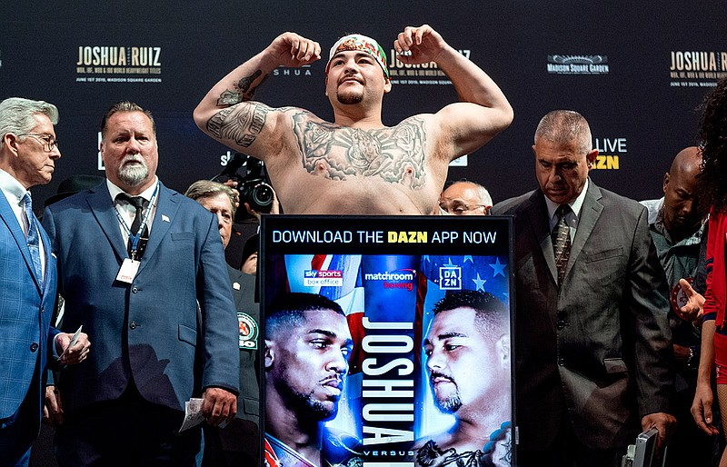 Heavyweight boxer Andy Ruiz Jr. weighs in at Madison Square Garden, Friday, M...