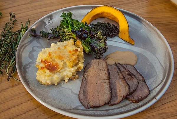 Pictured: Moose steak with potato mash. In autumn, the Sc...