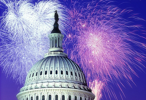Fireworks over the U.S. Capitol.