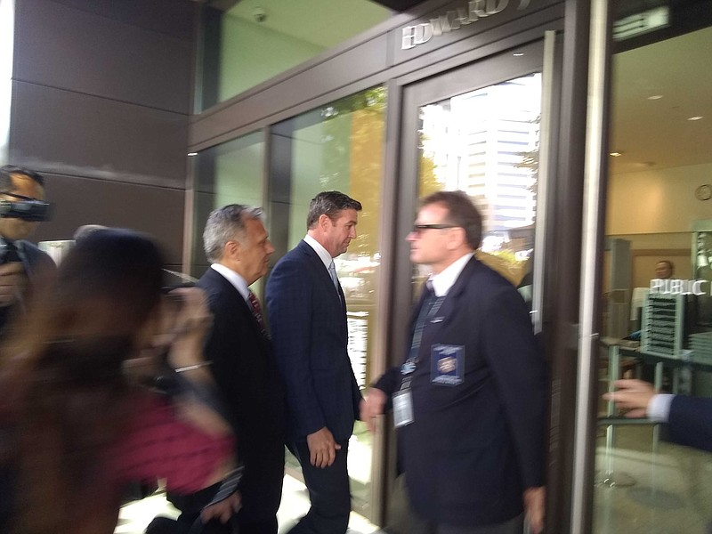 Rep. Duncan Hunter, R-Calif, arrives to the courthouse downtown San Diego, Ju...