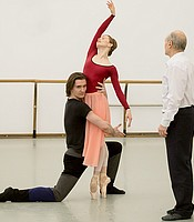 "Principal Bolshoi Ballet Dancers Evgenia Obraztsova and Vladislav Lantratov rehearsing ""Romeo and Juliet"" Pas de Deux in Moscow at the Bolshoi Theatre Studios with Mikhail Lavrovsky, Ballet Master with the Bolshoi Ballet and son of ""Romeo and Juliet"" choreographer Leonid Lavrovsky."