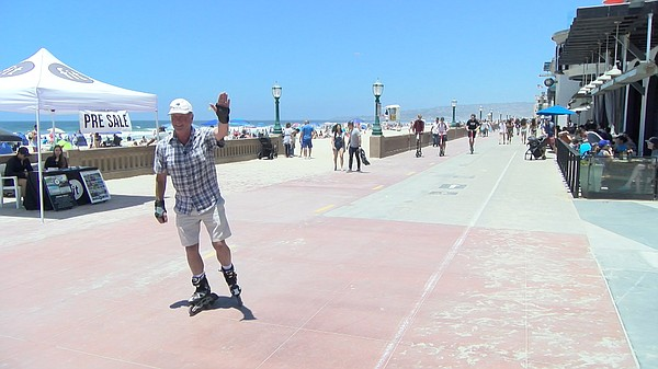 John Cole, a San Diego resident roller blades at Mission ...
