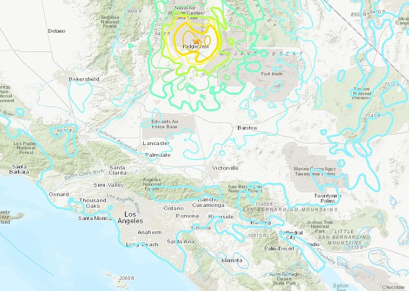A 6.4 earthquake strikes near Ridgecrest in the Mojave desert on July 4, 2019.