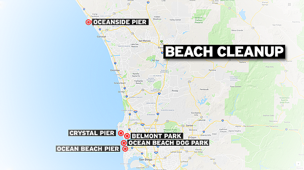 Beach cleanup locations are shown in this undated map.
