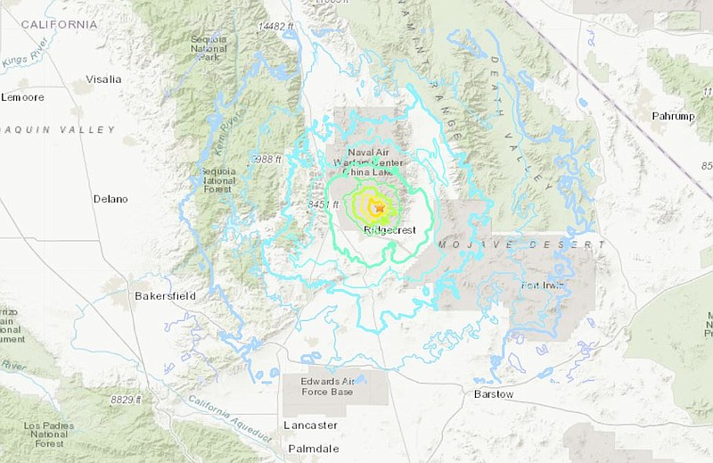 A magnitude-5.4 aftershock hits the same area in the Mojave desert Friday mor...