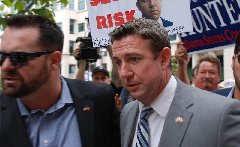 Rep. Duncan Hunter enters the San Diego Federal Courthouse, June 8, 2019.