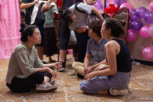 Actress Awkwafina and director Lulu Wang on the set of